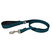 Load image into Gallery viewer, AdventureUs Dog Leash Deep Teal Reflective- These high visibility styles not only look hot but keep you safe no matter where you roam.  All colors are made with two reflective strips to help keep you and your furbaby safe!
