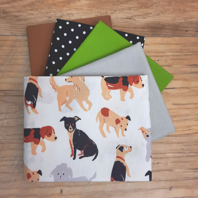 Get this fun stack of five fat quarters for a limited time only!  This combination of prints and solids is perfect for your next creative project.    5 fat quarters measuring 18