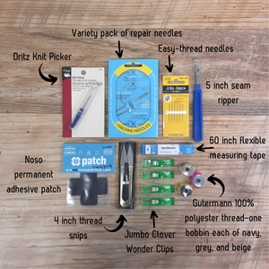 This awesome kit has everything you need to get started in the empowering world of repair and mending.
