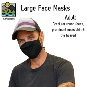 AdventureUs' Unique Face Masks are designed for all-day comfort and sized for the whole family.