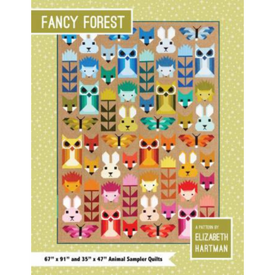 Fancy Forest is a delightful sampler quilt featuring Fancy Fox, Hazel Hedgehog, Bunny, Allie Owl, Thistle, and Frances Firefly blocks.