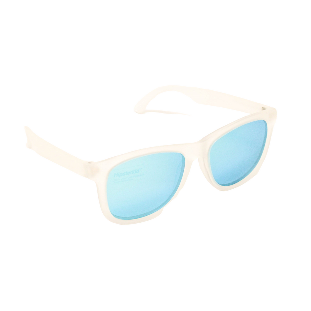 Hipster Kid Sunglasses in Frosty Blues are polarized, 100% UVA/UVB protection and durable for all of your adventures.