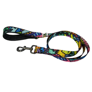 Dog Leash Graffiti Fun- Ever had the urge to tag the neighborhood with your unique colors and style?  With vivid yellows, bright blues, hot pink, and every other color you can think of- this fun & funky pattern is sure to inspire creative adventures.