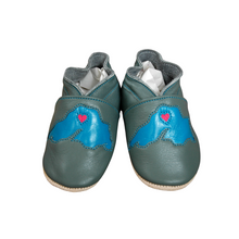 Load image into Gallery viewer, Wee-Kicks are handcrafted toddler shoes made from quality leather. These grey and blue Lake Superior shoes are perfect for any lake lover and adventurer in your life!