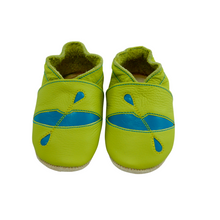 Load image into Gallery viewer, Wee-Kicks are handcrafted toddler shoes made from quality leather. These lime green kayak  shoes are perfect for any lake lover and adventurer in your life!