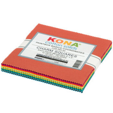 This beautiful array of Kona charm squares is ready to be turned into your next handmade creation. Kona sets the standard in the industry for high quality solid quilting fabric made from premium, long staple cotton.