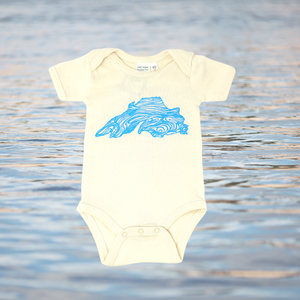 Hand Screen printed Lake Superior Baby Onesies are sure to be a treasured gift!
