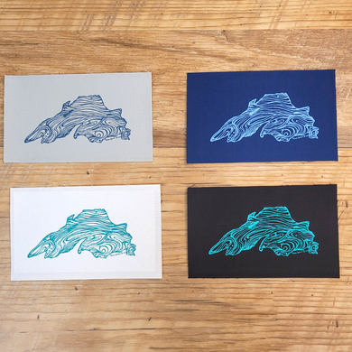 Got holes?  Need to add flair? These hand screen printed Lake Superior sew on patches are backed with a stretch fusible to make adding a patch easy.  Go head, put a lake on it!
