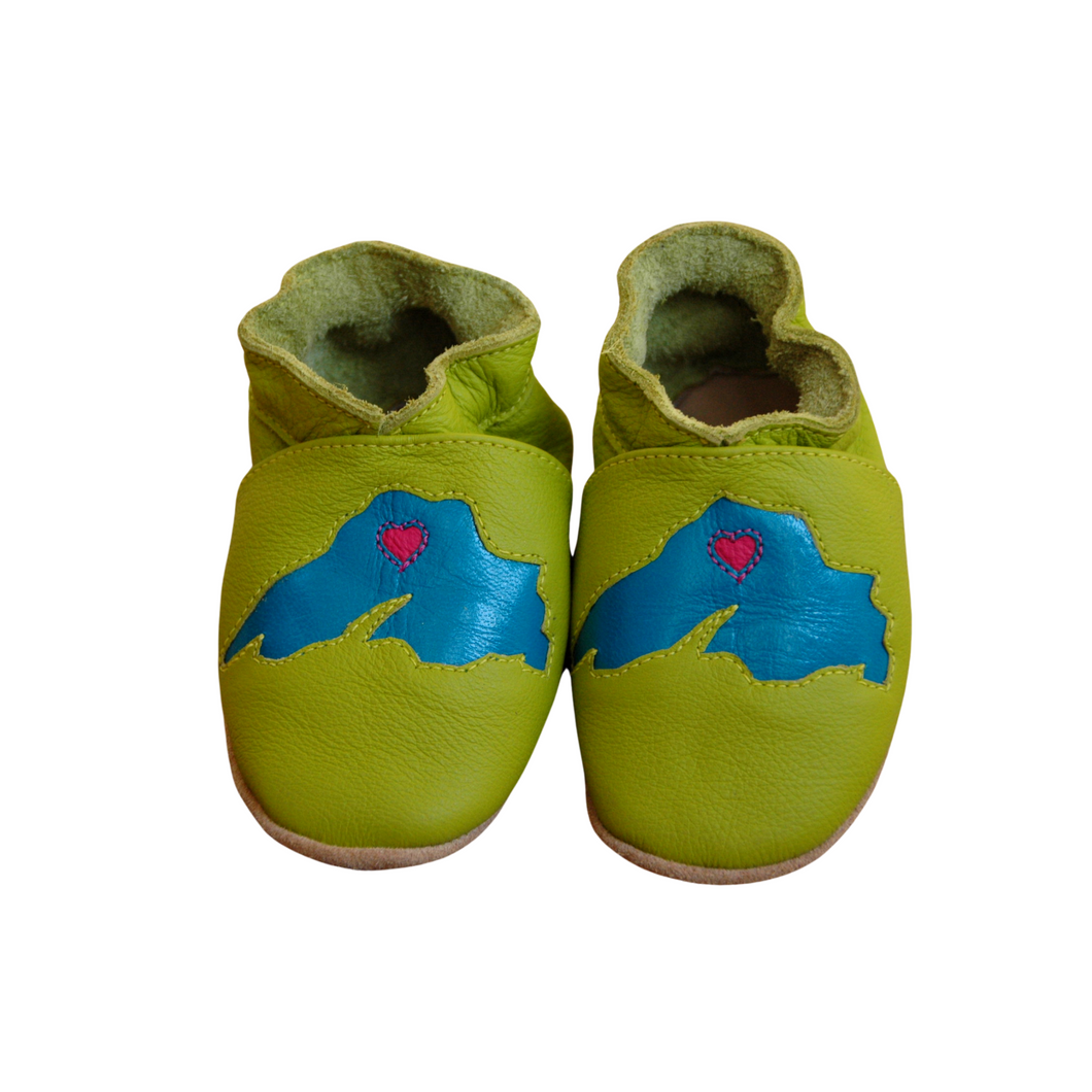 Wee-Kicks are handcrafted toddler shoes made from quality leather. These lime green Lake Superior shoes are perfect for any lake lover and adventurer in your life!