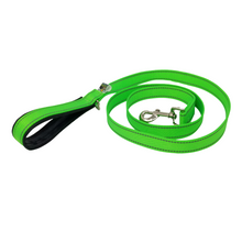 Load image into Gallery viewer, AdventureUs Dog Leash Hot Green Reflective- These high visibility styles not only look hot but keep you safe no matter where you roam.  All colors are made with two reflective strips to help keep you and your furbaby safe!