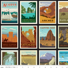 Load image into Gallery viewer, Riley Blake National Parks themed fabric collection is a great way to combine your love of the outdoors with your love of crafting!