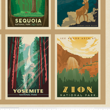 Load image into Gallery viewer, This large panel features a 62 American National Parks Wilderness & Wonder patch surrounded by a patchwork of 62 unique national park posters. Panel projects make great wall hangings, quilt backings & more!