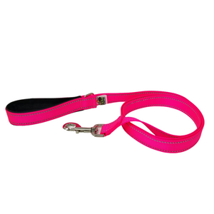 AdventureUs Dog Leash Reflective Hot Pink- These high visibility styles not only look hot but keep you safe no matter where you roam.  All colors are made with two reflective strips to help keep you and your furbaby safe!