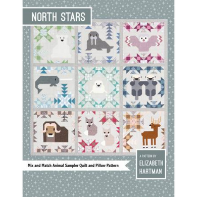 This arctic animal sampler quilt pattern features nine different mix-and-match blocks. Pattern includes large (82