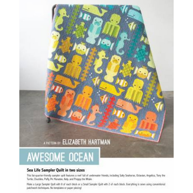 This fat quarter-friendly sampler quilt features a reef full of underwater friends, including: Salty Seahorse, Angelica, Tony the Turtle, Chuckles, Puffy, Mr. Manatee, Kelp, and Preppy the Whale.
