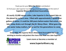 Load image into Gallery viewer, AdventureUs donates '$One for the Water' for every Lake Superior mask purchase to support the work of Superior Rivers Watershed Association