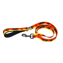 Load image into Gallery viewer, AdventureUs Dog Leash Orange Tropical State of Mind- We all need reminders to stay in that beach vacay mindset, and this dog leash is the perfect one.  Turn an evening stroll with your furry friend into watching a beautiful sunset while listening to the waves and wind in the palms.