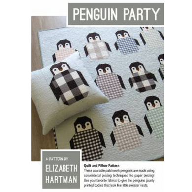 Patchwork penguin quilt pattern featuring 60