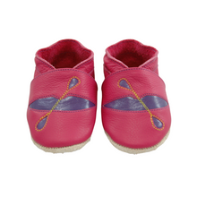 Load image into Gallery viewer, Wee-Kicks are handcrafted toddler shoes made from quality leather. These pink and purple kayak shoes are perfect for the lake lover and adventurer in your life!