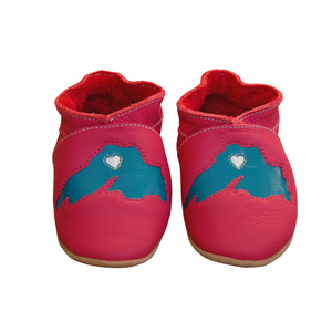 Wee-Kicks are handcrafted toddler shoes made from quality leather. These pink  Lake Superior shoes are perfect for any lake lover and adventurer in your life!