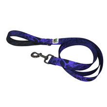 Load image into Gallery viewer, AdventureUs Dog Leash Purple Python Power-  You'll be the envy of the yard with this amazing python print.  Did you know that pythons can reach up to 33 feet, 250 lbs, AND are camouflaged to blend into their wide range of habitats throughout the world?!  Cool, right! Super Cool.