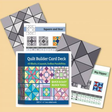 Deal yourself a quilt challenge with these delightful blocks to create dynamic quilts. Featuring 50 4in x 4in cards, the possibilities are endless to create your unique quilt and are great for planning different options and layouts.