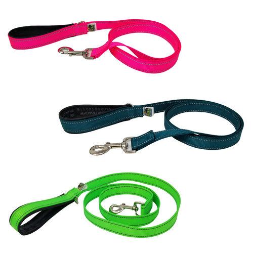 AdventureUs Reflective Dog Leashes- These high visibility styles not only look hot but keep you safe no matter where you roam.  All colors are made with two reflective strips to help keep you and your furbaby safe!