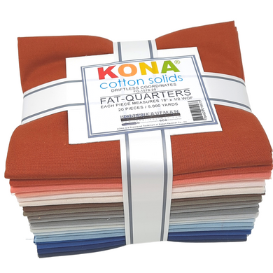 Get inspired by the colors of Lake Superior's breathtaking Sea Caves with this fat quarter bundle.  Kona sets the standard in the industry for high quality, solid quilting fabric made from premium, long staple cotton.  It's the perfect fabric for patchwork, making your projects a delight to sew. These beautiful solids are always in style and compliment any project.