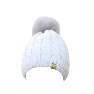 Stay warm with this fleece lined snow bunny beanie.