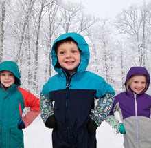 Load image into Gallery viewer, Kids of all ages can have more fun in the snow with Snow Sleeves, a fun and unique wrist gaiter to keep snow off wrists.