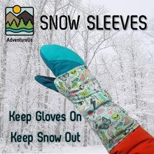 Load image into Gallery viewer, Snow Sleeves stay put with a handy thumb loop and are made from stretchy, wicking material that easily to fit over gloves and jacket sleeves to keep snow off wrists.