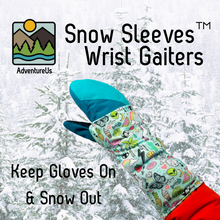 Load image into Gallery viewer, Snow Sleeves fit over gloves and jacket sleeves to as wrist gaiters and keep snow out off wrists to keep your adventurer warm and having fun.