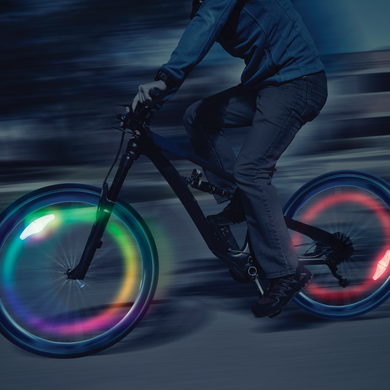 Hours of fun for dark winters or summer nights with this rechargeable bike wheel LED light.