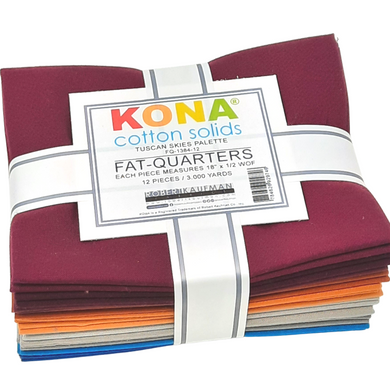 Get inspired by the colors of Tuscany with this fat quarter bundle, from burgundy to amber to pewter and caribbean.  Kona sets the standard in the industry for high quality, solid quilting fabric made from premium, long staple cotton.  It's the perfect fabric for patchwork, making your projects a delight to sew. These beautiful solids are always in style and compliment any project.