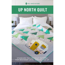 "Load image into Gallery viewer, This adorable pattern has instructions for making a camper themed throw size quilt pattern that measures 59-1/2"" by 68-3/4"" using standard piecing methods."