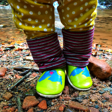 Load image into Gallery viewer, WeKicks in the wild. Wee-Kicks are handcrafted toddler shoes made from quality leather. These midnight blue constellation shoes are perfect for the little dreamer and adventurer in your life!