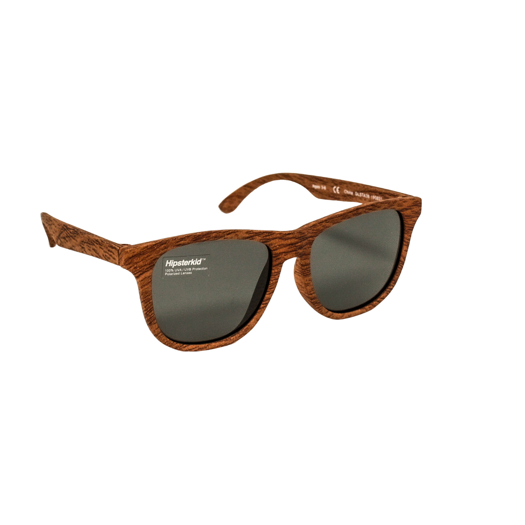 Hipster Kid Sunglasses in Woodland are polarized, 100% UVA/UVB protection and durable for all of your adventures.