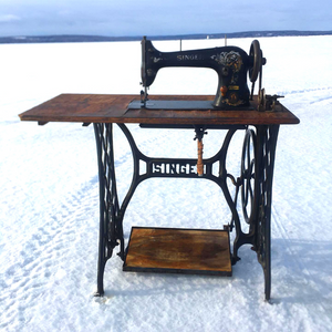 This is the treadle sewing machine that is used to create each pair of Wee-Kicks.  The owner and creator, Zach, enjoys creating shoes and spending time outdoors. When possible he does both at the same time!