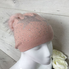 Load image into Gallery viewer, Diamante Star Winter Beanie Pom Pom Hat