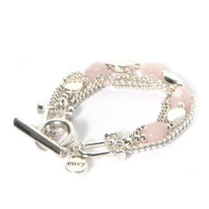 Envy Chain Effect Silver bracelet with Pink Beaded Detail