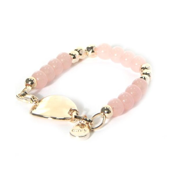 Envy Pastel Pink & Gold Beaded Bracelet with a Gold Circle