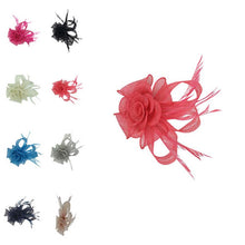 Load image into Gallery viewer, Small Mesh & Feather Flower Fascinator - Pretty Swish Accessories Ripley Derbyshire