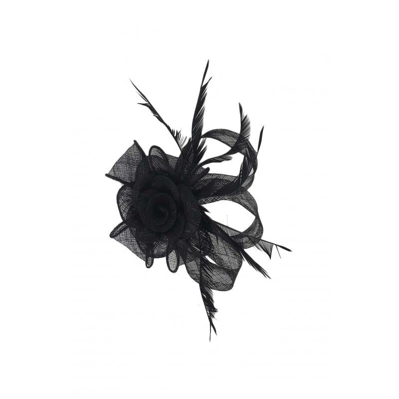 Small Mesh & Feather Flower Fascinator - Pretty Swish Accessories Ripley Derbyshire