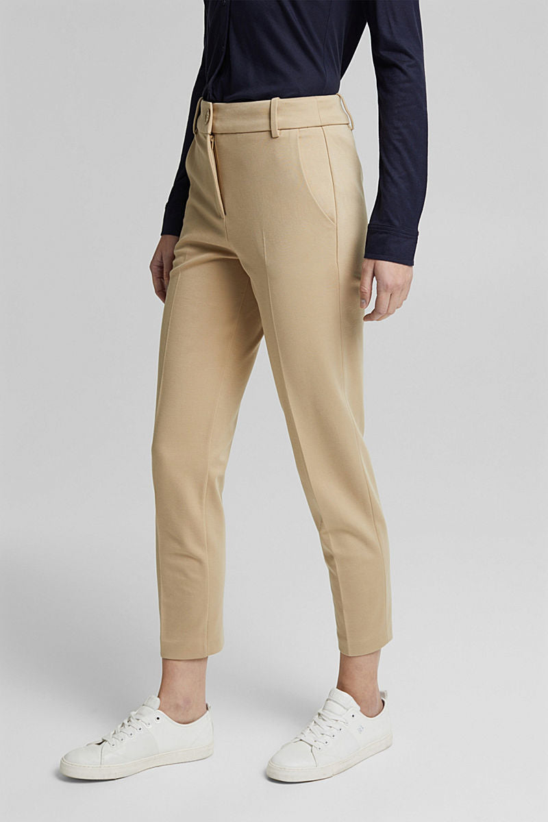 Esprit Soft Jersey Stretch Trousers - Sand