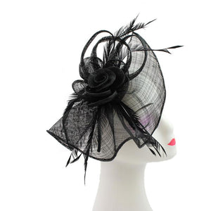 Large Mesh & Feather Flower Fascinator - Pretty Swish Accessories Ripley Derbyshire