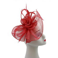 Load image into Gallery viewer, Large Mesh & Feather Flower Fascinator - Pretty Swish Accessories Ripley Derbyshire