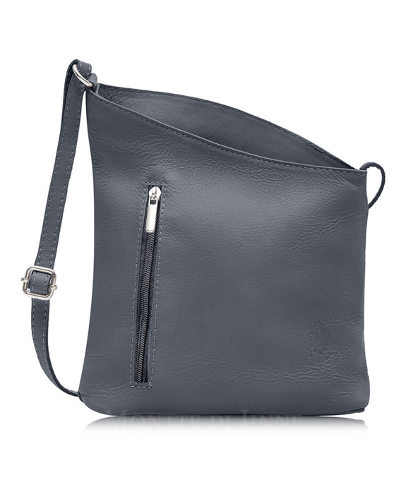 Sara Sloping Italian Leather Cross Body Bag - Pretty Swish Accessories Ripley Derbyshire