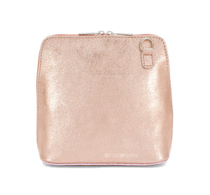 Rhianna Italian Metallic Leather Cross Body Bag - Pretty Swish Accessories Ripley Derbyshire
