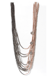 Long Multi-Strand Pink and Grey Beaded Necklace - Pretty Swish Accessories Ripley Derbyshire