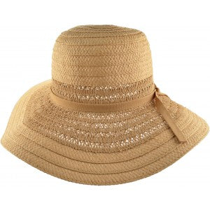 Beige Textured Wide Brim Sun Hat - Pretty Swish Accessories Ripley Derbyshire